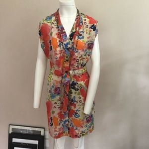 Rachel Roy Floral Print Silk Dress M
